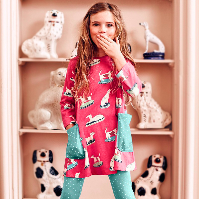 Autumn Toddler Girl Dress Fashion Girls A-line Dresses Happy Dog Print Girls Dress Winter Long Sleeve Magenta Girl's Clothing