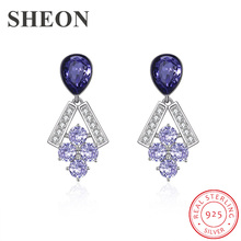 SHEON 925 Sterling Silver Exquisite Grape bunch Stud Earrings for Women Purple Crystal Jewelry