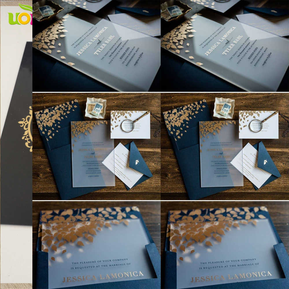 Free Design Acrylic Wedding Invitation Card Navy Blue Clear