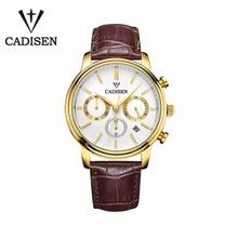 Cadisen Reloj De Lujo de Los Hombres 6 Punteros Fecha Auto de Cuero Genuino Reloj 30 M Resistente Al Agua Reloj de Los Hombres Reloj de Cuarzo Hombre de Oro blanco
