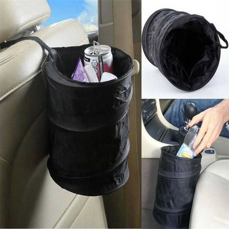 Collapsible Car Bin Water Resistant Black Litter Waste Rubbish Trash Bag Boat Automobiles Interior Accessories Organizer Basket
