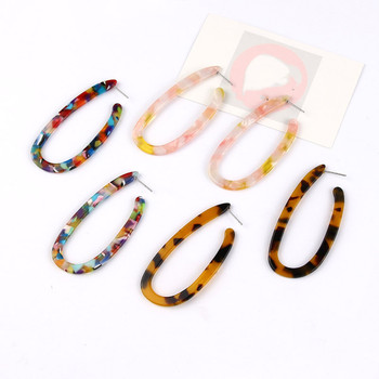 2019 New Fashion Leopard Grain Multi-Color Big Hook Acrylic Earrings Special Design Semicircle Resin Drop Earring 2