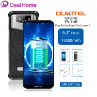 OUKITEL K12 6.3 FHD+ Waterdrop Android 9.0 6GB 64GB Smartphone 1080*2340 16MP 10000mAh 5V/6A OTG NFC Mobile Phone