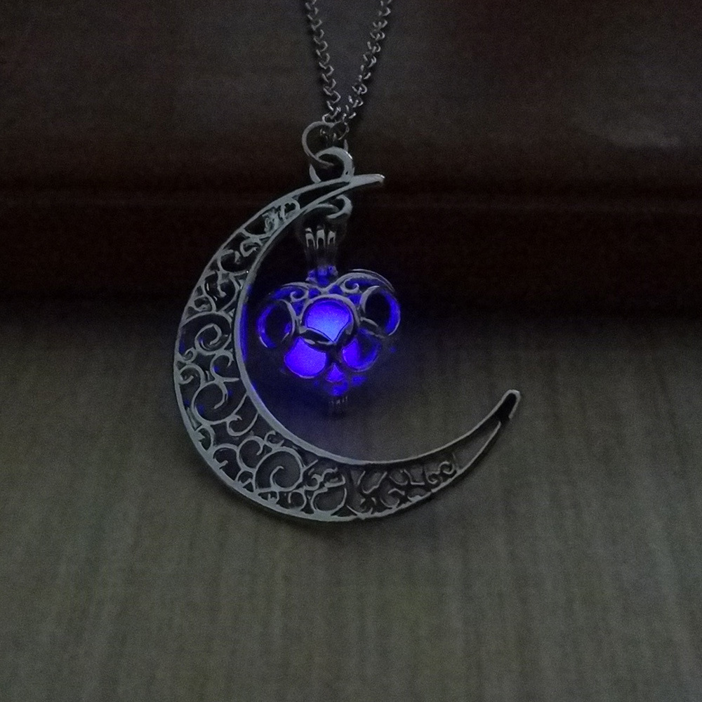Creative Hollow Moon & Heart Glow in Dark Pendants Choker Necklace-in  Pendant Necklaces from Jewelry & Accessories on Aliexpress.com | Alibaba  Group