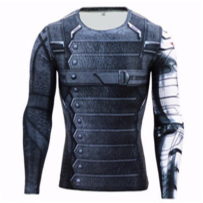 3D Winter Soldier Avengers 3 Compression Shirt Men Long Sleeve font b Fitness b font Crossfit