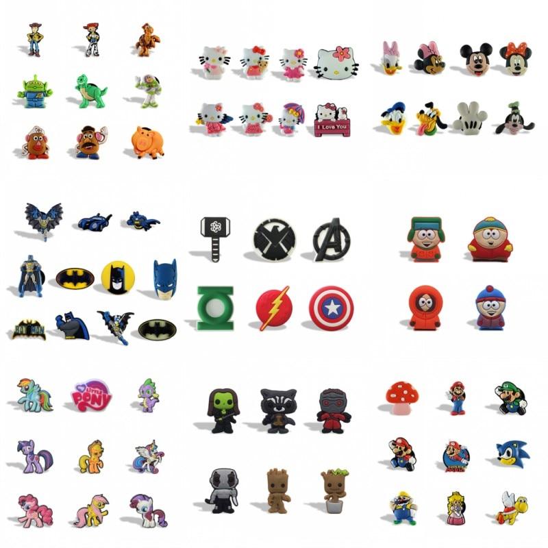 4-12pcs PVC Fridge Magnet Cartoon Figure Mickey Avengers Spider Man Hero Magnetic Fridge Decorative Magnet Whiteboard Stickers