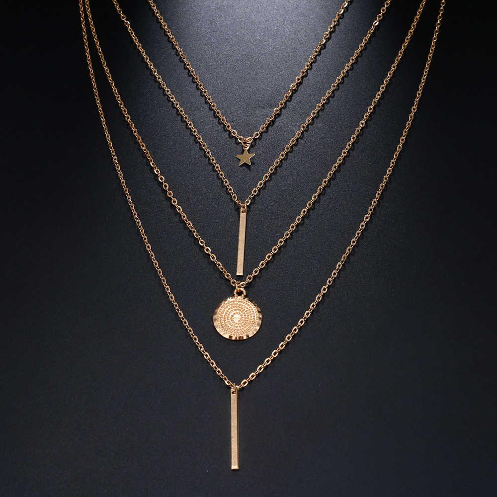 FAMSHIN 2018 винтажное Бохо многослойное ожерелье с подвеской для женщин Золотая Звезда рога металлическое ожерелье этническое серебряное ожерелье воротник новинка
