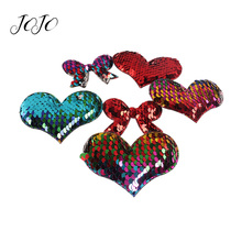 JOJO BOWS 10pcs Reversible Sequin Patches Heart Bow Accessories For Needlework Apparel Sewing Materials DIY Handmade Crafts