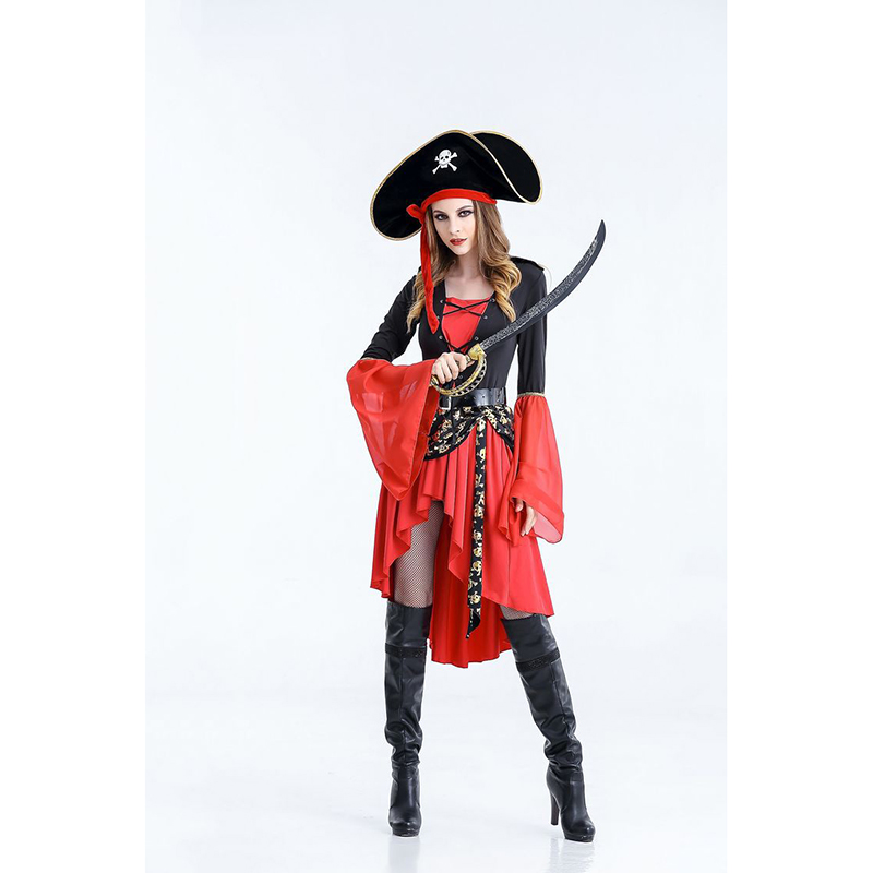 Halloween Party  High Quality Hot Women Carnival Cosplay Costume Caribbean Captain Pirate Costumes Cosplay Women Sexy Dress