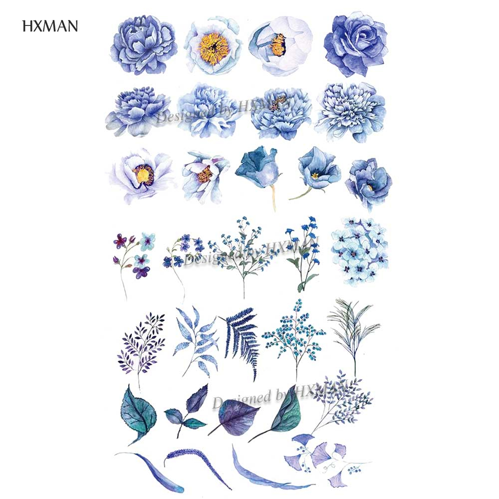 HXMAN Flower Temporary Tattoo Sticker Waterproof Fashion Women Arm Face Fake Body Art 9.8X6cm Kids Adult Hand Tatoo P-052