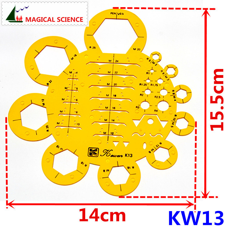 Plastic Nuts Drawing Template Soft Flexible Machinery Electrician Ruler For Students KW13