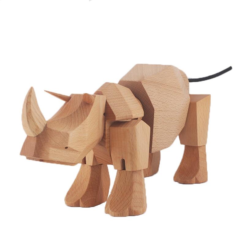 2019 NEWS PRODUKT Europäischen holz Rhino Ornamente Handwerk Wandelbare Spielzeug-in Figuren & Miniaturen aus Heim und Garten bei  Gruppe 1
