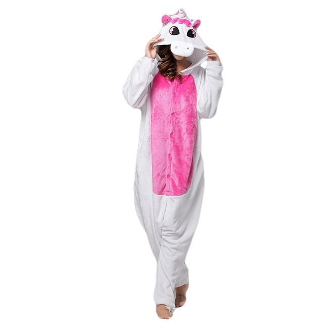 bcf77b8f67890 LAISIDANTON Unisexe Adulte Hiver Licorne Pyjamas Animaux Pyjama Ensembles  Sexy À Capuche Homewear Flanelle vêtements de