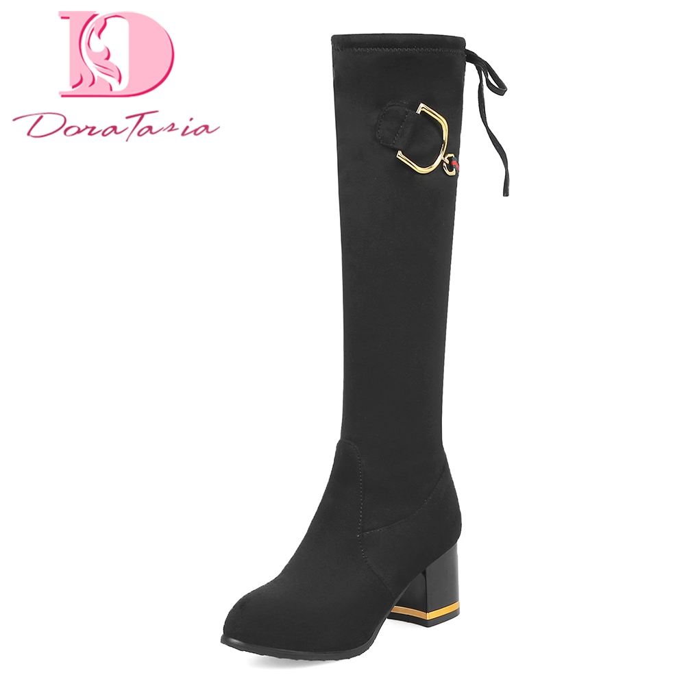 Doratasia 2018 Large Size 32-43 top quality Fashion Women Shoes Woman Boots Chunky Heels knee-high Boots Woman doratasia 2018 large size 34 43 chunky heels women boots shoes slip on over the knee high boots leisure fashion shoes woman