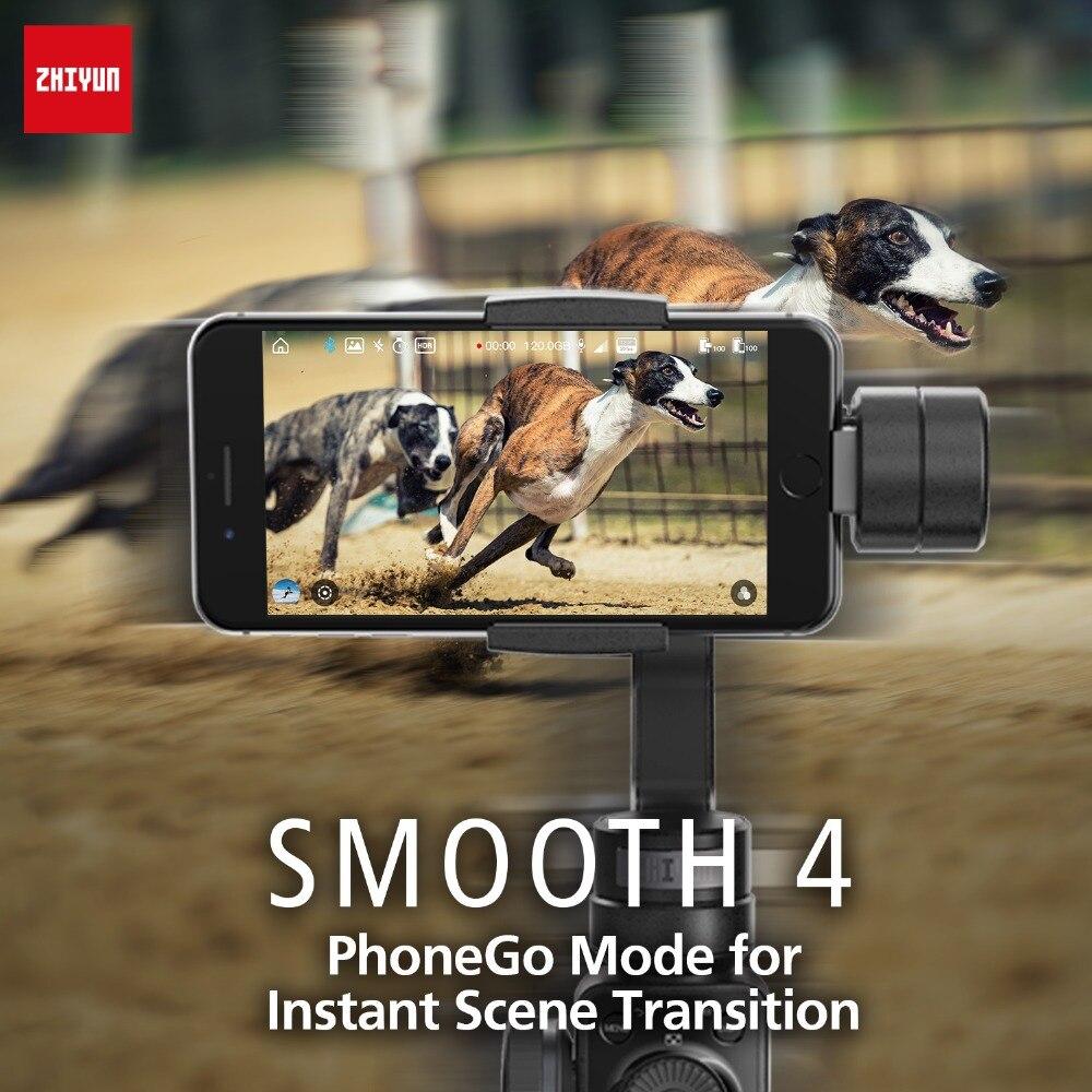 Zhiyun Lisse 4 3-Axes De Poche stabilisateur de cardan w/Focus Pull & Zoom pour iPhone Xs Max Xr X 8 Plus 7 6 SE Samsung caméra d'action - 3