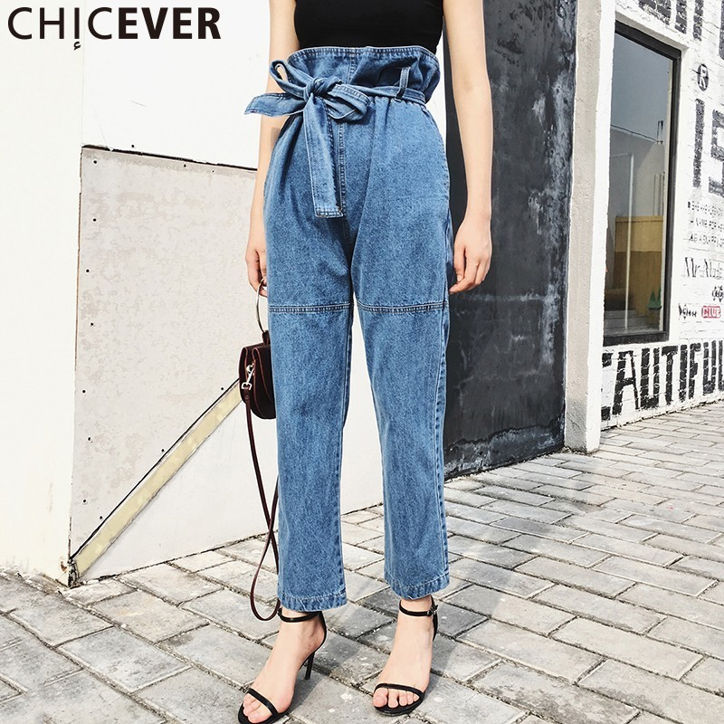 CHICEVER Belt Tunic High Waist Jeans Women Long Denim Pants Large Big Size Looses Trousers Blue Lace Up Casual Clothing Korean women jeans large size high waist autumn 2017 blue elastic long skinny slim jeans trousers large size denim pants stretch female