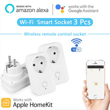 Timethinker 3 Pcs Smart WIFI Soket AU US Uni Eropa Plug untuk Apple Homekit Siri Alexa Google Home Aplikasi Voice Remote kontrol Timer Switch(China)