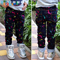 2017 Autumn Winter Girls Jeans Rainbow Color Ink Print Denim Pants 3 12 Years Fashion Kids