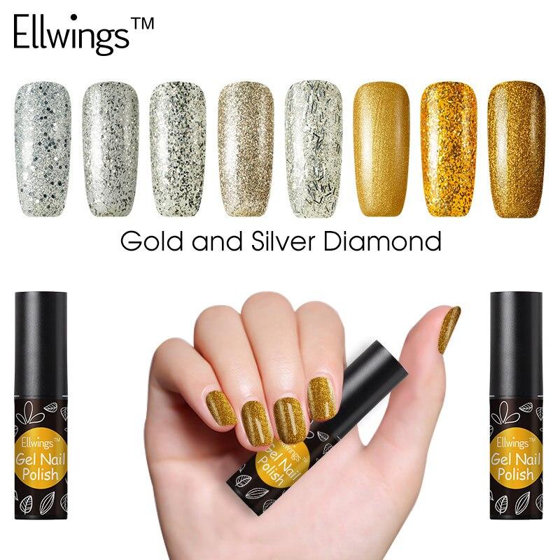 Ellwings Gel Polish Gold and Silver Color Diamond Hybrid Glitter Gel ...