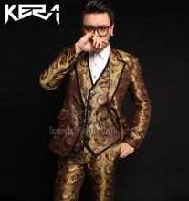 2016 spring new bigbang Zhi-long proper bronze cashew flowers silk Blazers vests pants fits, males's trend nightclub costumes