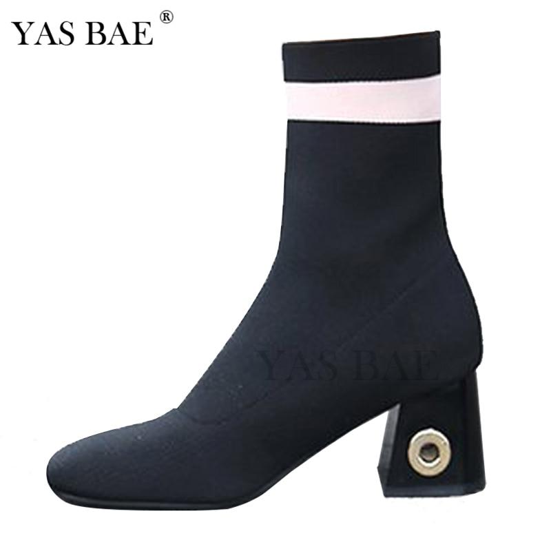 купить Female High Fashion Ankle Sock Boot Chunky Block Medium Heel Stretch Knit Bootie Elastic Pointed Toe femme Sexy Ladie Shoe Women недорого
