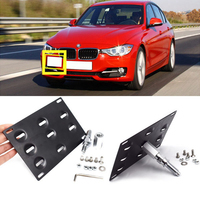 Front Bumper Tow Hook License Plate Mounting Bracket Holder Aluminum Adjustable Car License Plate For BMW