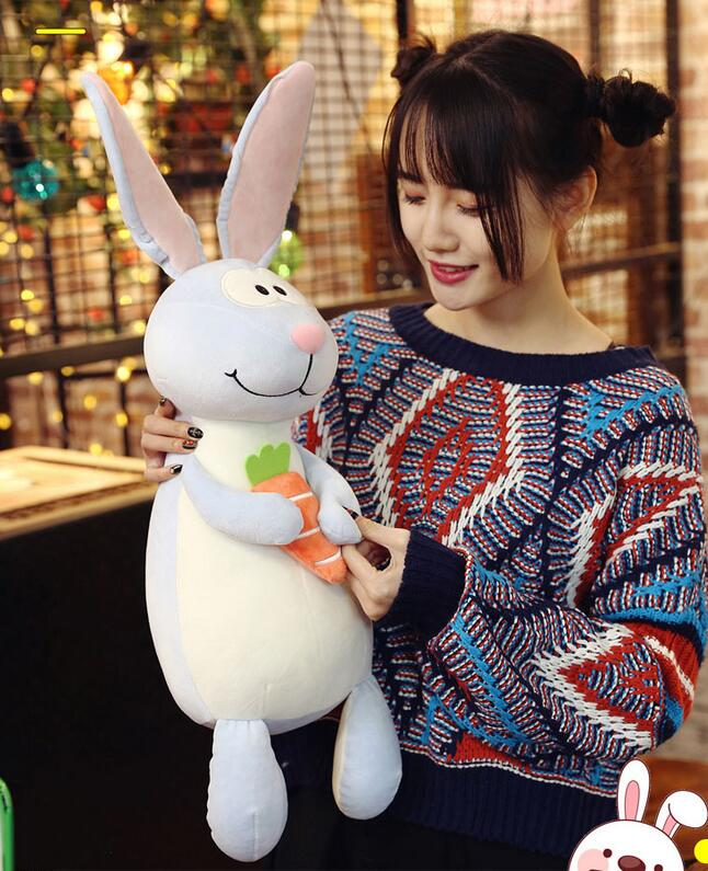 Candice Guo! Super Cute Plush Toy Long Ears Bunny Bucktooth Rabbit Holding Carrot Soft Stuffed Doll Birthday Christmas Gift 1pc