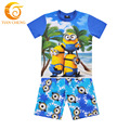 2-10T Summer Minion t Shirt+Pants Cotton 2pcs Baby Boy Shorts Set Summer Style Minions Despicable Me 2 Kids Boys Summer Clothes