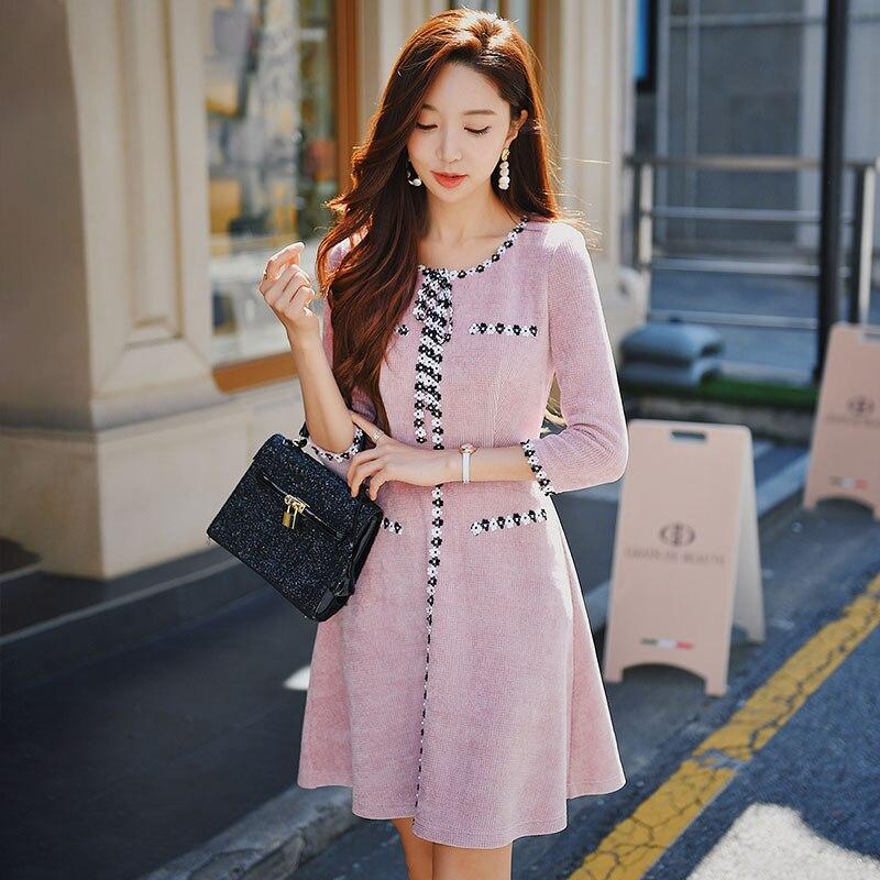 Dabuwawa Spring New Fashion Women Lace Dress Female Girls Bow Elegant Appliques Slim Fit Midi Dresses