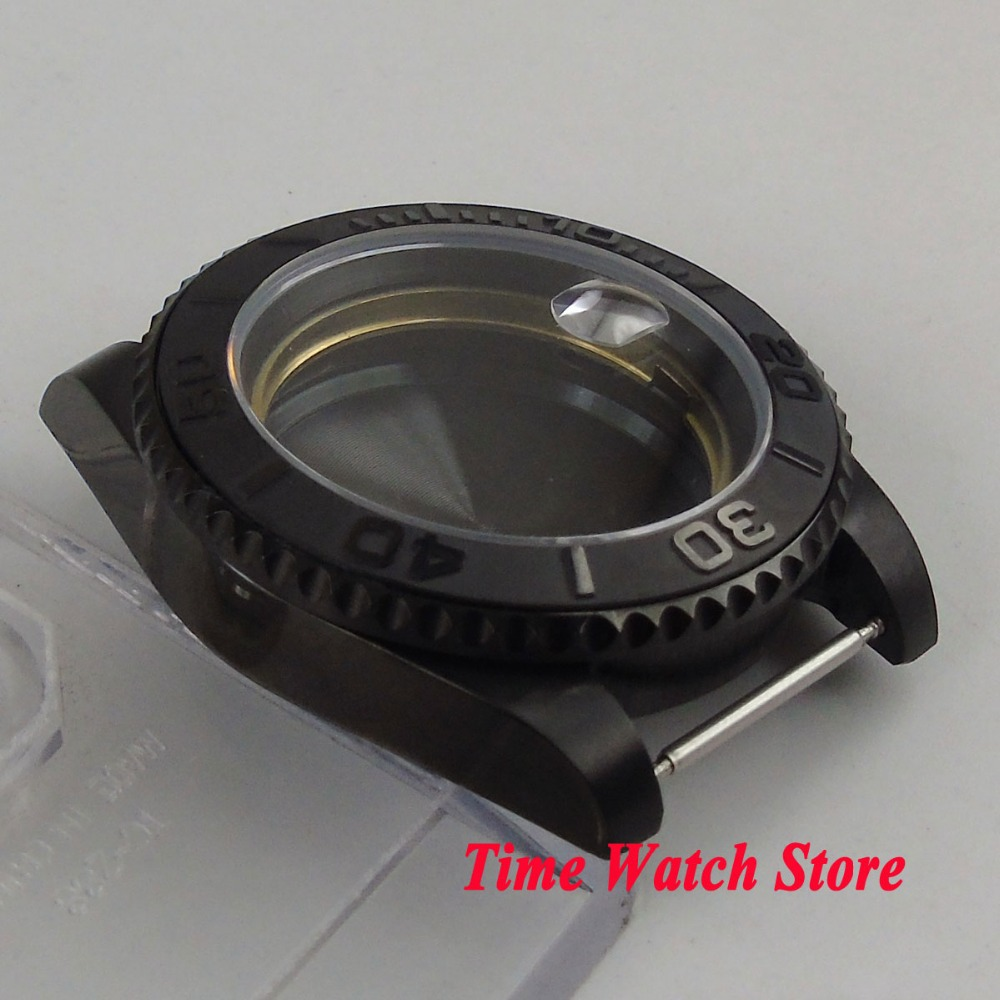 Parnis 40mm PVD coated watch case fit ETA 2836 Miyota 8215 movement Brushed ceramic bezel sapphire glass for SUB mens watch C22