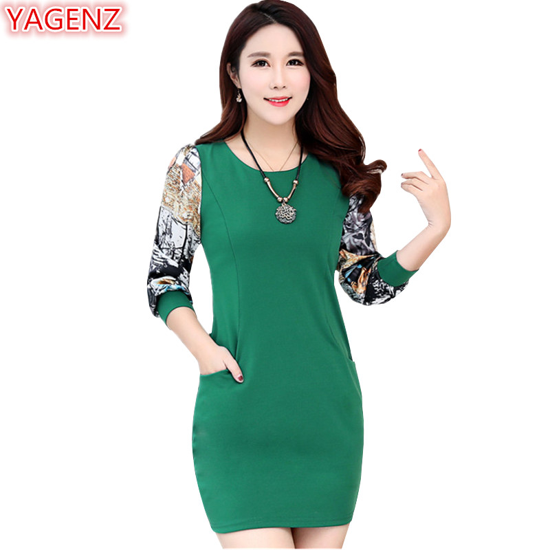 US $19.33 49% OFF|YAGENZ Spring Autumn Mini Dresses Womens Black Dress Plus  size Long sleeve Flower print Package Hip Dresses O Neck Slim Dress877-in  ...