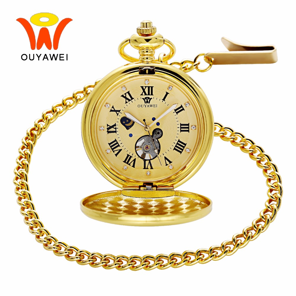 Ouyawei 2017 Luxury Gold Moon Phase Mechanical Pocket Watches With Chain Skeleton Dial Men Clock Necklace Pocket Fob Watch men mechanical pocket watch roman classic fob watches flower design retro vintage gold ipg plating copper brass case snake chain