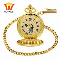 Ouyawei 2017 Luxury Gold Moon Phase Mechanical Pocket Watches With Chain Skeleton Dial Men Clock Necklace Pocket Fob Watch