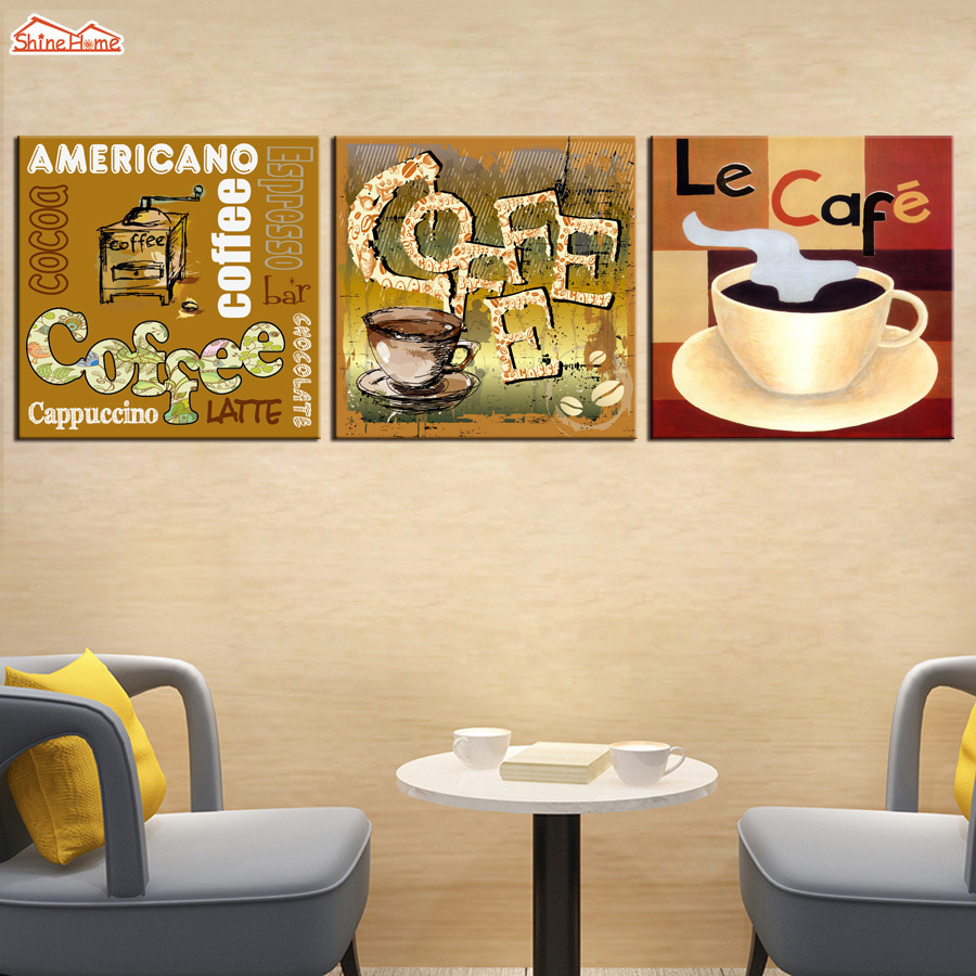 ShineHome 3pcs Wall Art Canvas Prints Oil Paintings Triptych Coffee ...