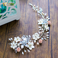 Handmade crystal hairband flower headband pearl jewelry girl party wedding accessories bride headpiece Gifts forehead guican