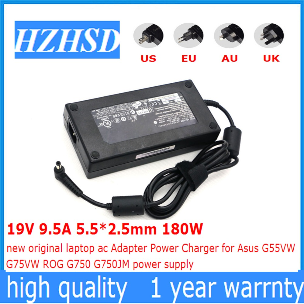 19V 9.5A 5.5*2.5mm 180W new original laptop ac Adapter Power Charger for Asus G55VW G75VW ROG G750 G750JM power supply 19v 9 5a 5 5 2 5mm 180w ac laptop power adapter ac adapter charger for asus g70 g75 g75 adp 180hb b g55vw g75vw with power cord