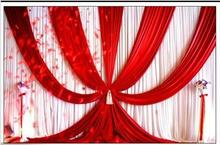 3X6m (10ftX20ft) Backdrops Curtain New Design ice silk RED wedding background material scene decorative curtain Wedding curtain