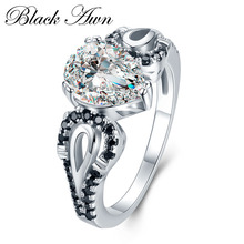 [BLACK AWN] Engagement Rings for Women Black Stone 925 Sterling Silver Jewelry Water Drop Zircon Wedding Bague C406
