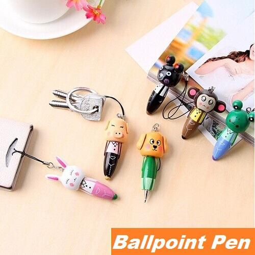 30PCS/lot Wood mini Ballpoint pen Animal design Portable ballpen Novelty gift caneta Stationary office material school supplies