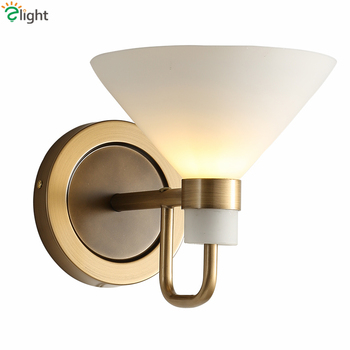 American Simple Plate Gold Metal Led Wall Lamp Speaker Frosted Glass Led Wall Scons Lustre Led Lighting Lamparas Fixtures