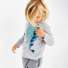 New 18M To 6 Years Dinosaur Pattern Shirts Children Kids Boys Girls Long Sleeve T Shirts Autumn Spring Baby Clothes boys t shirts for clothes autumn turndown collar pullover children long sleeve spring school uniform t shirt 4 6 8 10 12 years
