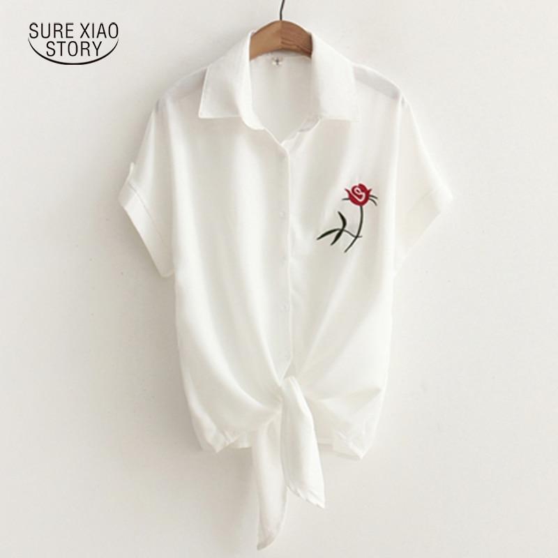 Women Casual Short Sleeve Tops 2017 Summer Fashion Floral Embroidery Blouses Shirts Sexy Loose Beach Shirt Blusas Feminina 688i