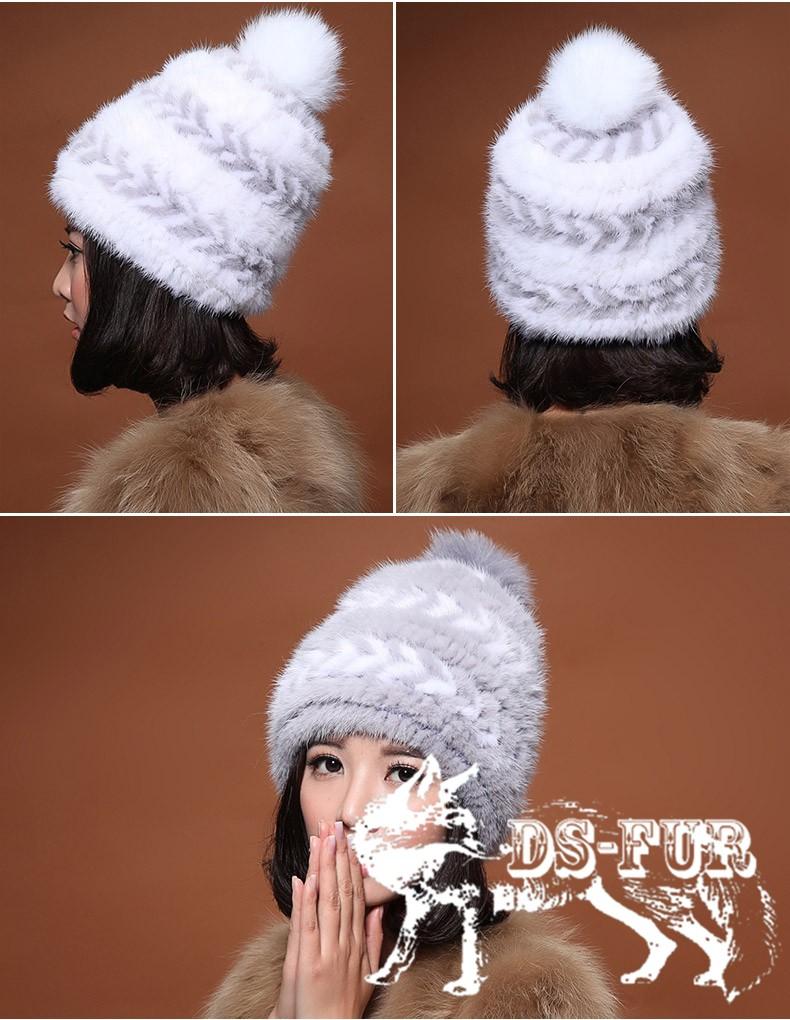 Real mink fur hat double arrow horizontal stripes 02