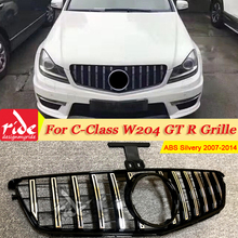 W204 GTS Style Front Grille Grill Without Emblem ABS Silver C-Class C63 C180 C200 C250 C280 C300 C350 2007-14