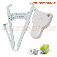 2 pc Fitness utrata masy ciała mięśni tkanki tłuszczowej Caliper masy ciała taśma pomiarowa Tester tanie tanio ETOPOO 60MM Z tworzywa sztucznego Maszyny do obróbki drewna 0-150cm