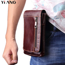 YIANG 2018 New 6.3Casual Fashion Mens Genuine Leather Waist Packs Fanny Pack Belt Bags Mobile Phone Pouch Travel Male Bag