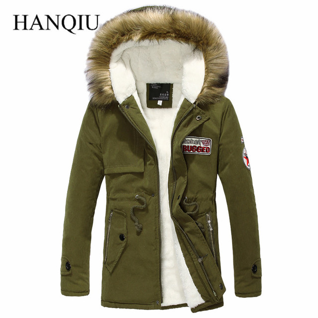 Army Green Men Down Jacket Winter Warm Men's Thick Warm Fur Collar Long Jackets Wool Linner Men Hooded Parka Men Coat