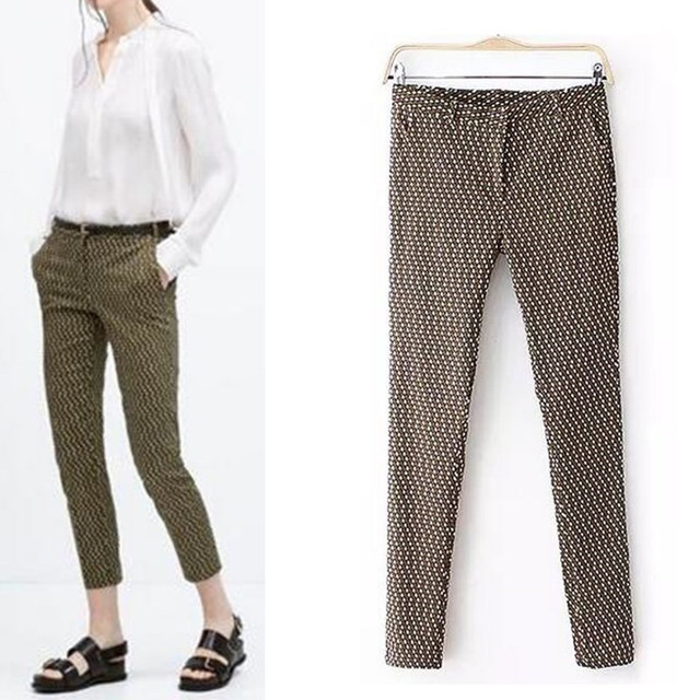 Chic тонкий работа женские брюки pantalones mujer карандаш брюки узкие брюки vetement femme Мода плед печати брюки PT055