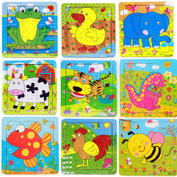 cartoon animals wooden Jigsaw puzzle wood puzzles children Educational Toys Magic Cubes gift for kids P2 pilsan puzzle 4x4 animals