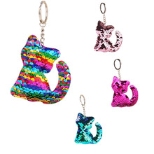 CDCOTN Colorful Sequins Cartoon Cat Car Key Chain Reflective Bright Keychains Rings Hanging Bag Pendant Jewelry